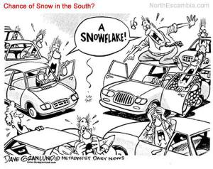 This is actually remarkably true. We make a ridiculously big deal out of snow.
